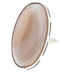 Кольцо из мельхиора в посеребрении с агатом Нежный беж