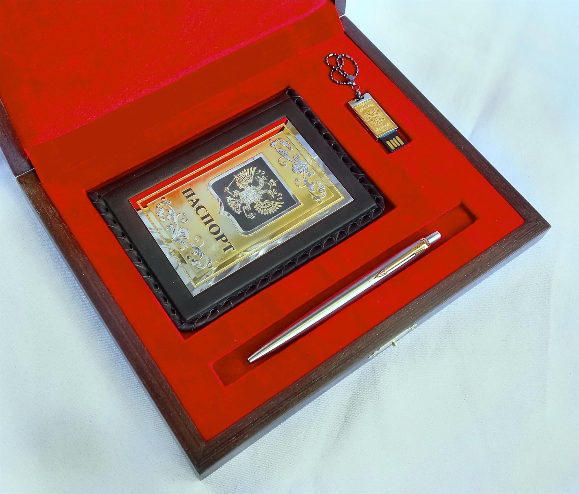 Набор из обложки на паспорт, ручки Parker, флешки