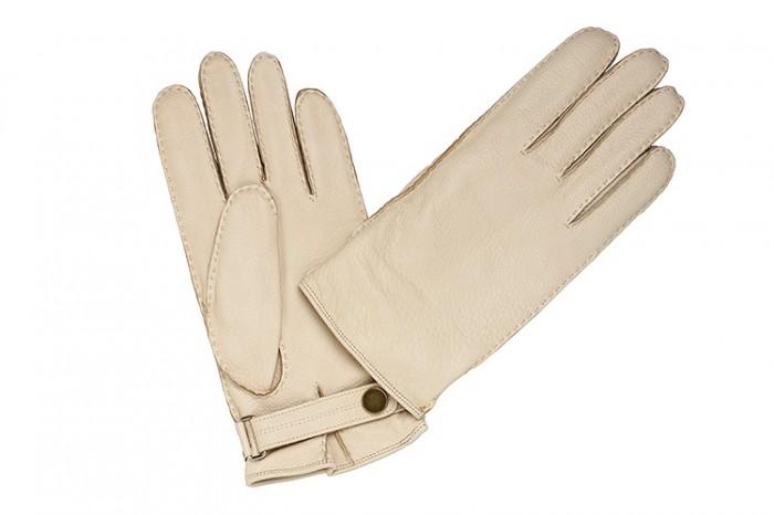 Белые перчатки Merola из кожи оленя