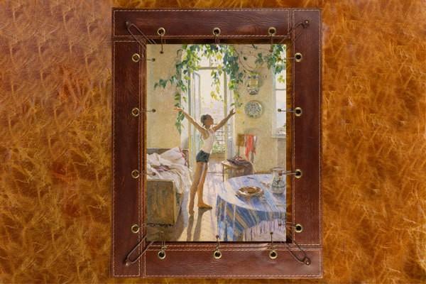Картина из кожи Утро Т.Яблонская