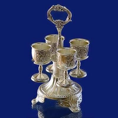 Набор рюмок на подставке Виноград, с серебряным покрытием