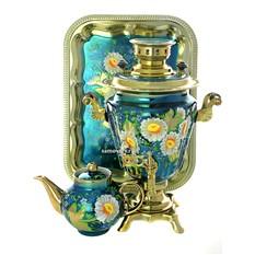Набор; самовар 3 литра с росписью Ромашки, чайник и поднос