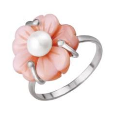 Серебряное кольцо с розовым перламутром и жемчужиной