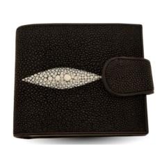 Черный мужской кошелек из кожи ската с монетницей