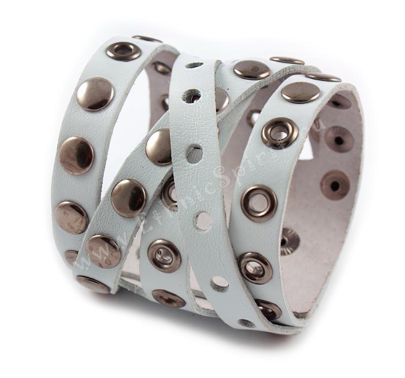 Широкий креативный белый кожаный браслет Casual