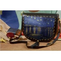 Женская кожаная сумка-седло Starry Night Over the Rhone