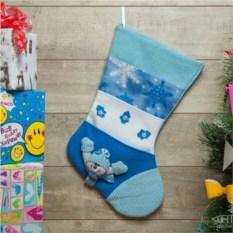 Рождественский носок Много подарков (синий)