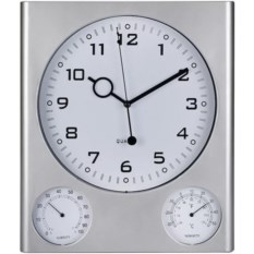 Серебристая погодная станция: часы, термометр, гигрометр