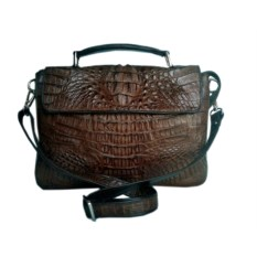 Коричневая мужская сумка из кожи крокодила