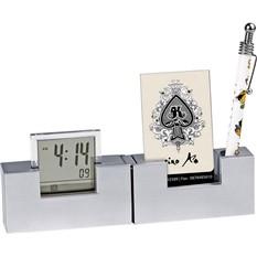 Часы с подставкой под ручку и визитки