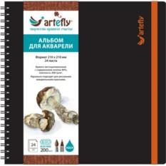 Черный квадратный скетчбук для акварели Artefly