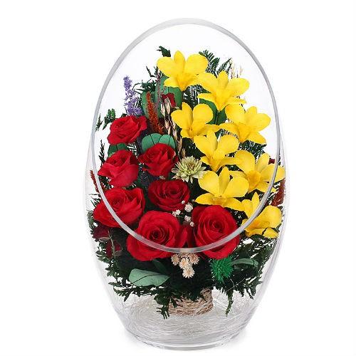 Цветочная композиция Красная роза, желтая орхидея