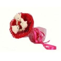 Красный букет из мягких игрушек Медвежата