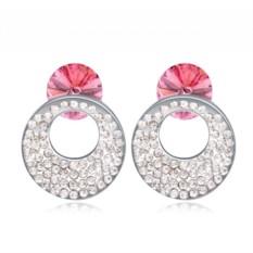Серьги с розовыми кристаллами Сваровски Каприз