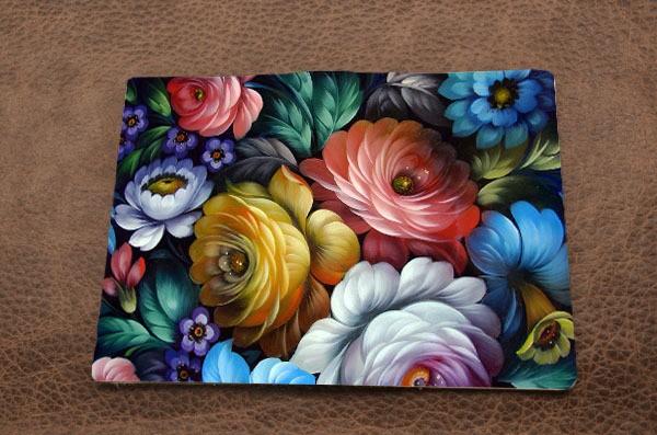 Кожаная обложка для паспорта Цветы Жостово