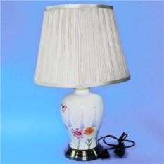 Белая с цветами электрическая лампа с абажуром из керамики