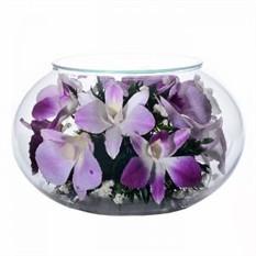 Цветы в стекле. Композиция-подсвечник из настоящих орхидей