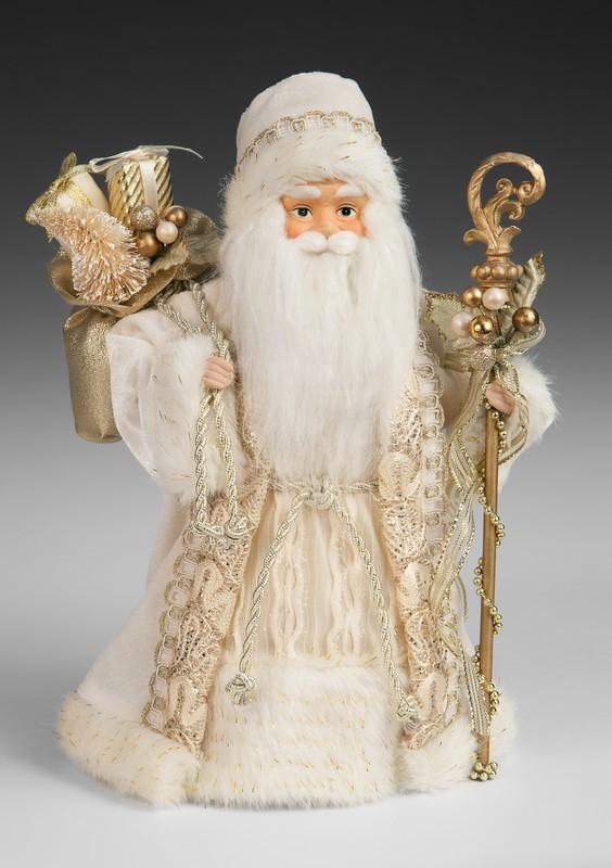 Игрушка Дед Мороз в кремовой шубе