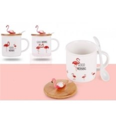 Кружка с крышкой и ложкой Фламинго