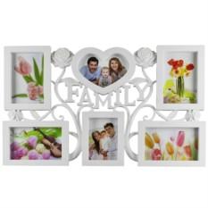 Белая фоторамка-коллаж для 6 фотографий Семейные узы