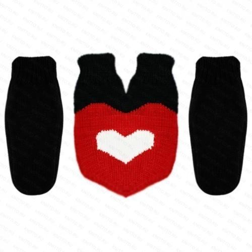 Комплект Варежки для влюбленных, белое сердце