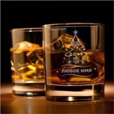 Именной стакан для виски Новогодняя елка