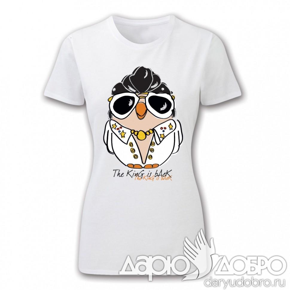 Женская футболка с совой Элвис Goofi