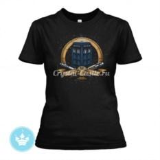 Черная женская футболка Тардис
