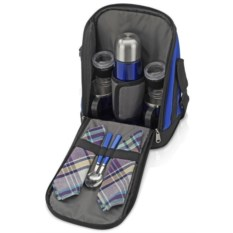 Чёрный набор для пикника в сумке