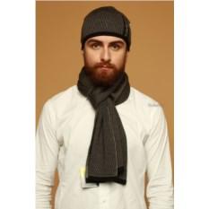 Однотонный мужской комплект из шапки и шарфа Navigare