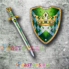 Игровой набор рыцаря Меч и щит зеленый с короной