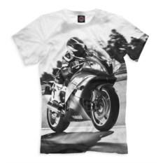 Белая мужская футболка Мотоциклист