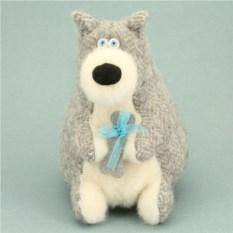 Мягкая игрушка Собака хаски с подарком