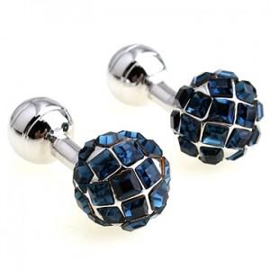 Синие запонки Алмазный шар