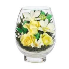 Букет-композиция из роз и орхидей в стекле