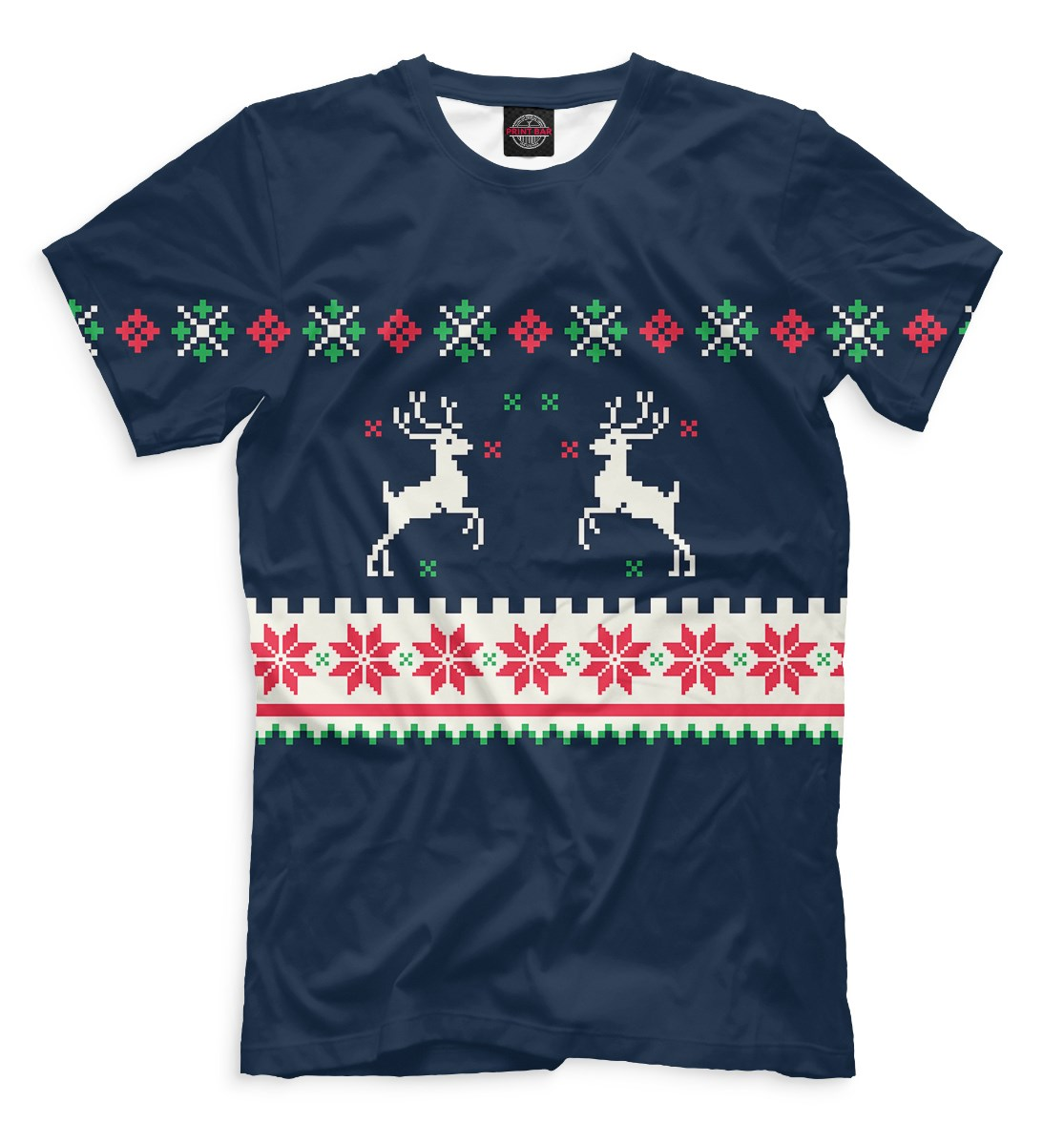 Синяя мужская футболка Свитер с оленями
