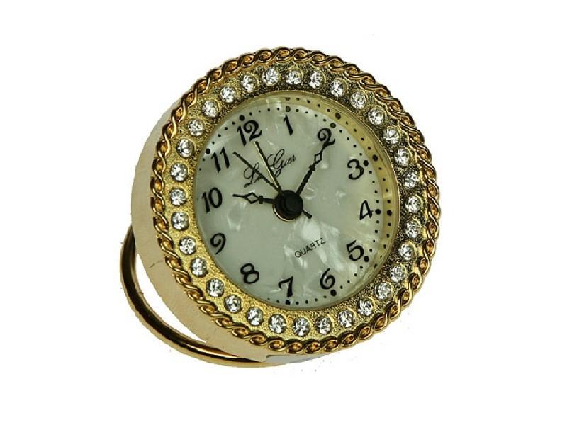 Круглые настольные часы с золотистыми стразами