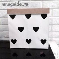 Эко-мешок для игрушек из крафт бумаги Сердечки