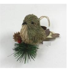 Елочная игрушка Птичка серого цвета