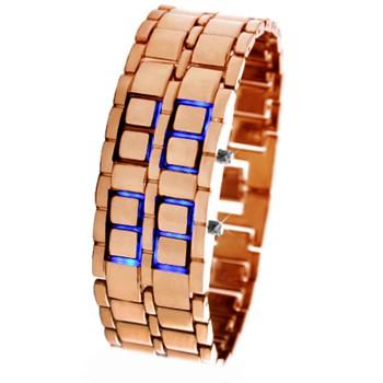 Часы Iron Samurai, бронзовые с синей подсветкой
