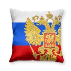 Подушка с 3D принтом Флаг и герб РФ