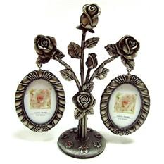 Фоторамки в виде букета роз на 2 фото со стразами