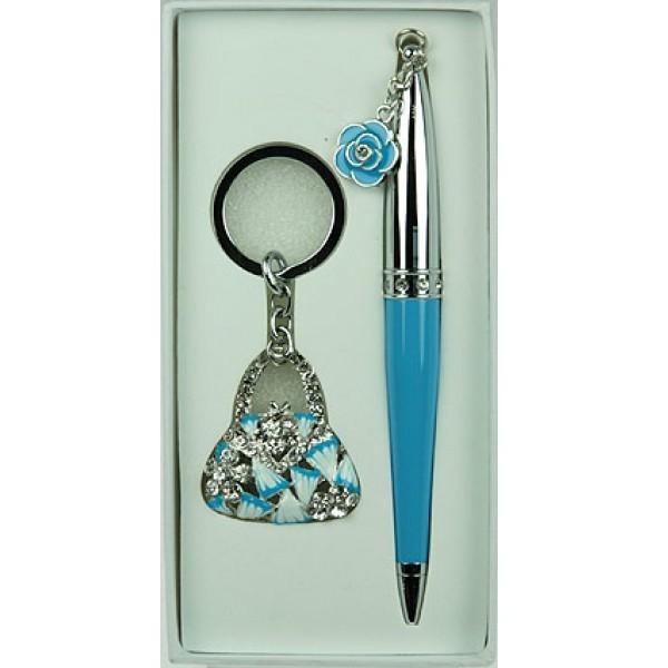 Голубой подарочный набор Сумочка: ручка, брелок
