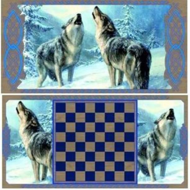 Нарды Волки в деревянном коробе