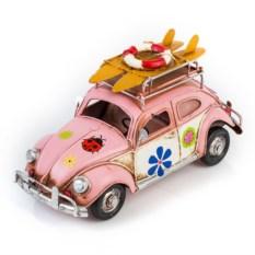 Модель ретро-автомобиля с фоторамкой и копилкой (розовый)