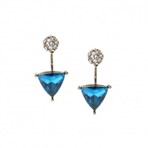 Серьги с синими треугольными кристаллами