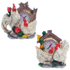 Настольные часы с фигурками Петух и курочка