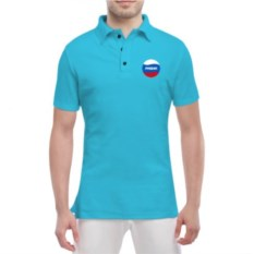 Голубая мужская футболка поло Паша