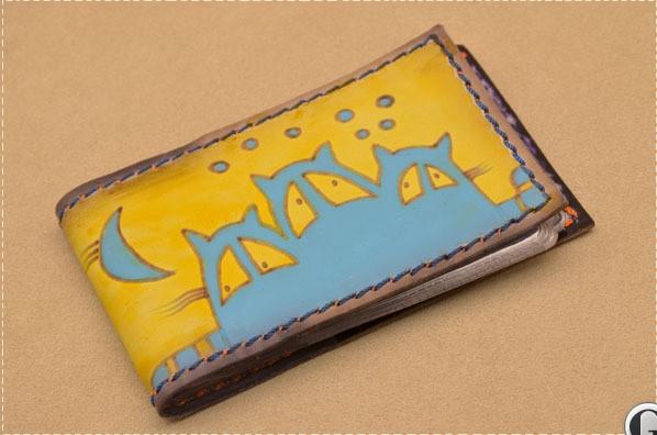Карманная визитница. Коллекция Altamira (желтый; тип 1; нат. кожа)