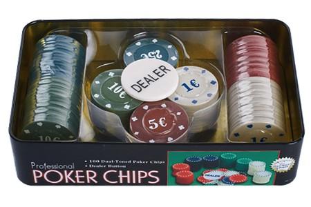 Набор фишек для покера, 100 штук